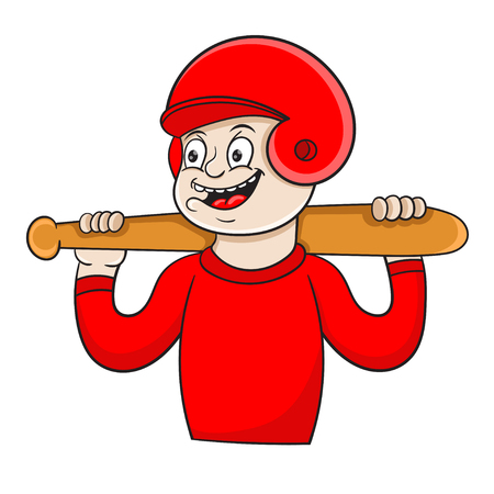 Joyful little boy posing with a baseball bat, vector illustration
