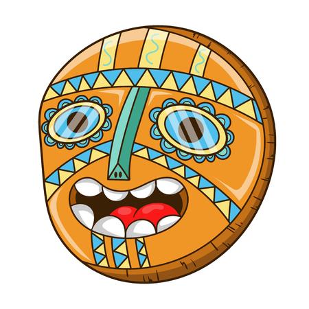 Scary African mask, cartoon vector illustration Illustration