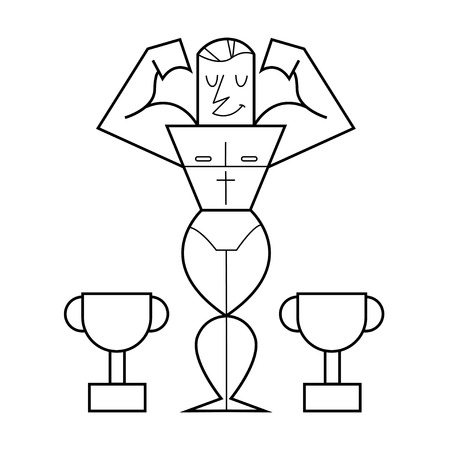 bodybuilder posing showing biceps. Vector cartoon illustration