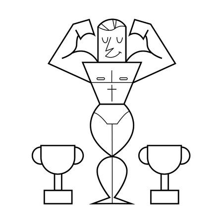 bodybuilder posing showing biceps. Vector cartoon illustration