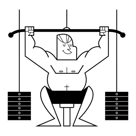 Athletic man in gym training on lifting machine