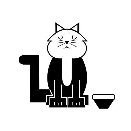 schattige kat zitten door kommen, cartoon vectorillustratie Vector Illustratie