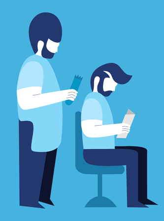 Hair stylist making a haircut to a client in the barber shop. Vector cartoon illustration. Illustration