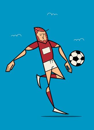 Soccer Player Kicking Ball. Flat Vector illustration