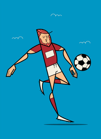 Soccer Player Kicking Ball. Flat Vector illustration