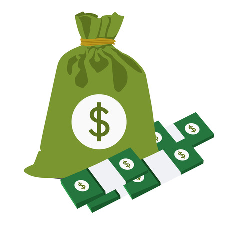 money bag and bundles of money , vector illustration