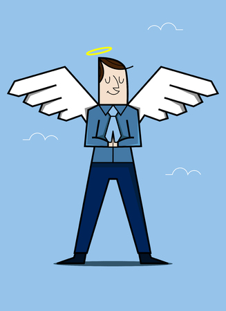 cartoon young man with angel wings, vector illustration