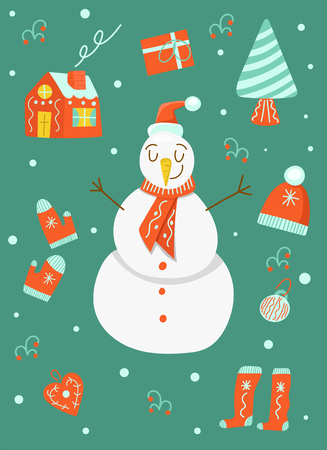Christmas set, cute snowman in hat, vector illustration Ilustrace