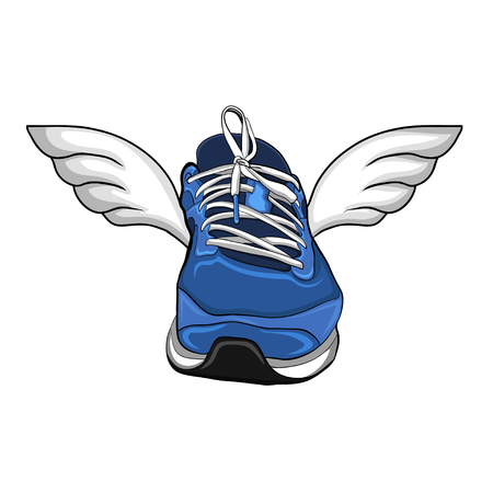 sneakers with wings, vector illustration