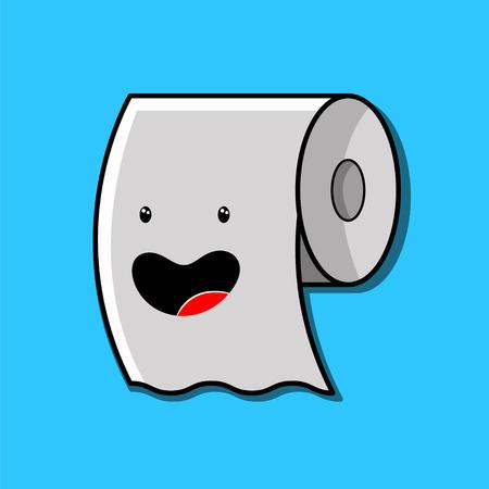 cute cartoon toilet paper roll kawaii character vector illustration