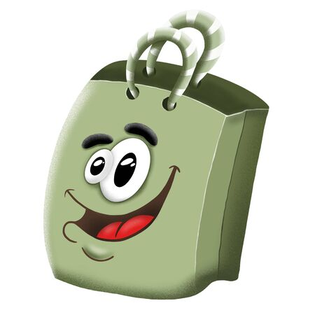 cute cartoon shopping bag with handles on white background, illustration