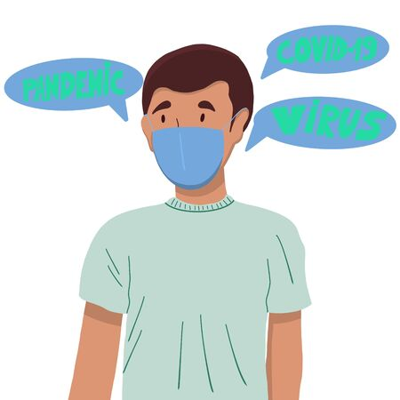 Protection against contagious disease, coronavirus. Man wearing hygienic mask to prevent infection, airborne respiratory illness such as flu, 2019-nCoV. Illustration of a flat design.