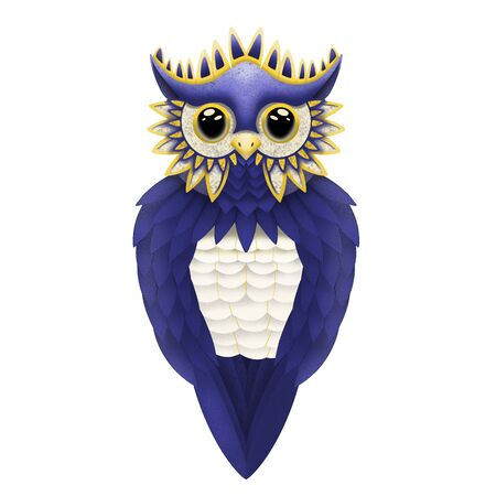 beautiful blue owl on a white background, illustration