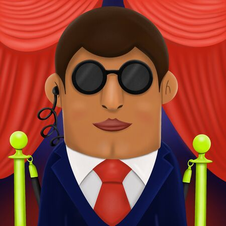 cartoon guard in classic suit red tie, dark sunglasses and headset in ear illustration 写真素材