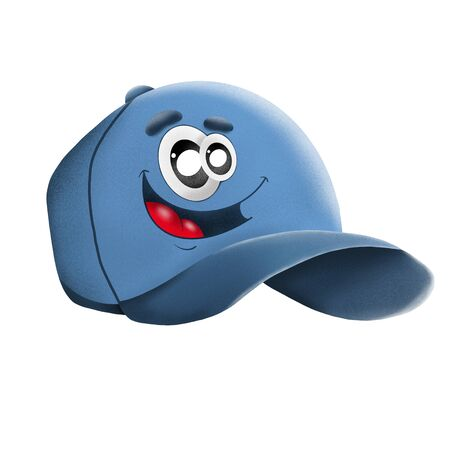 cartoon character blue cap on white background, illustration