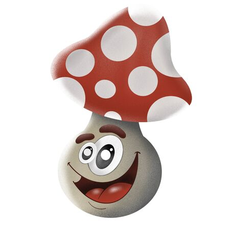 cartoon character fly agaric on white background, illustrations 写真素材