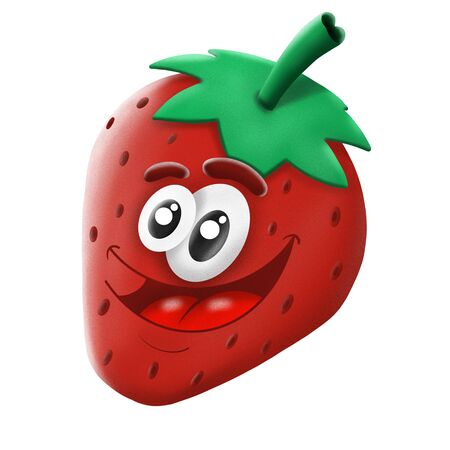 cartoon character red strawberry berry on white background, illustrations 写真素材