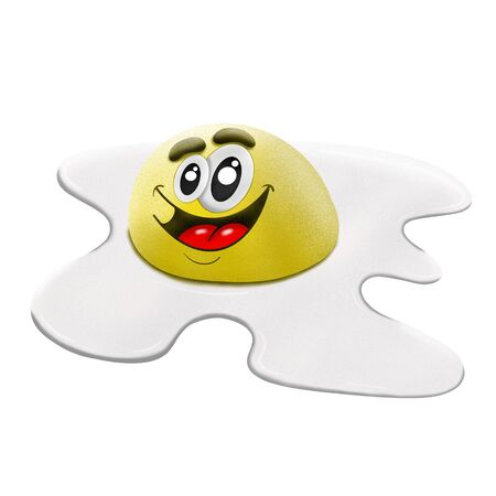 cartoon character scrambled eggs on white background, illustration 写真素材