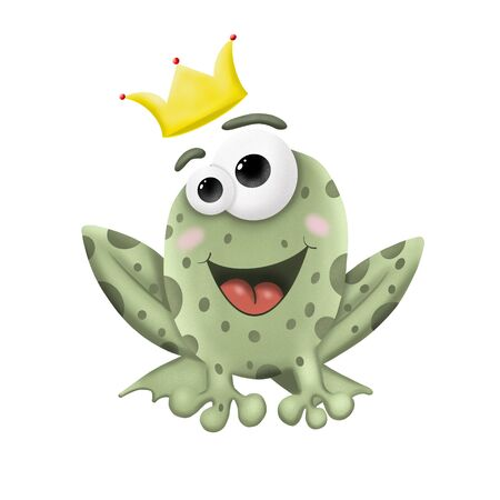 cartoon frog with Golden crown on white background, illustration