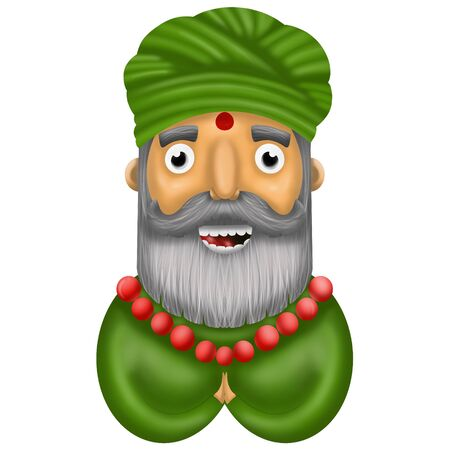 cartoon Indian man in green shirt and turban on white background, illustration