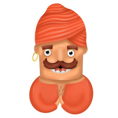 cartoon Indian man with mustache and red clothes on white background, illustration