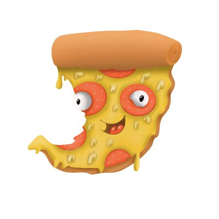 cartoon pizza slice with sausage on white background, illustration