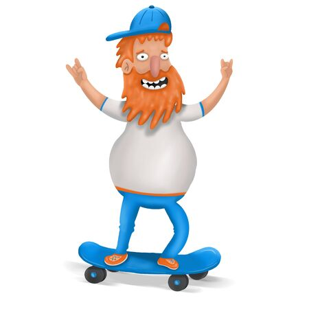 cartoon skateboarder with beard on white background, illustration 写真素材