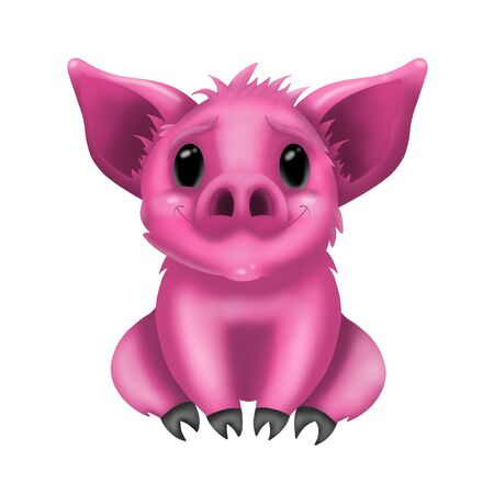 cartoon smiling cute pink pig on white background, illustration