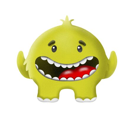 cartoon yellow monster on white background, illustration