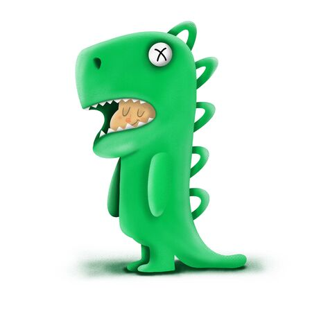 child in a green dinosaur costume on a white background, illustration