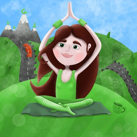 young girl practicing yoga in nature,on the background of green fields and mountains, illustrations