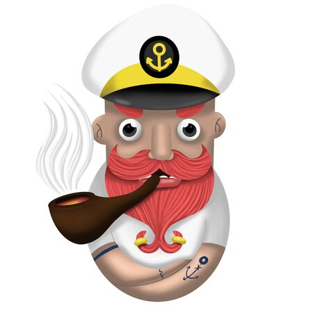 Cartoon sea captain with a beard and mustache Smoking through a wooden pipe, character design, illustration on a white background.