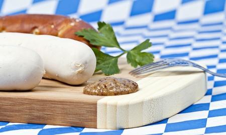 wiesn: Weiswurst mit Senf und Breze  Stock Photo