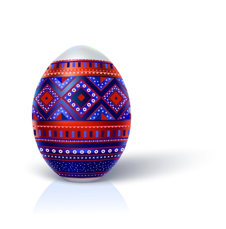 Easter egg, decorated with multi-colored complex geometric ornament. Egg looks like the real three-dimensional image. It stands upright on a white background, casting a small shadow. photo