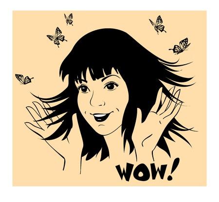 cream colour: Giovane ragazza onde allegre le mani in gioia. I suoi capelli � splendidamente vola. Farfalle volano intorno. E 'di fantasia e non una persona reale. La composizione comprende isolati sagome scure contro rettangolare di colore di sfondo crema.