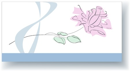 elongated: This elegant card is designed for congratulation of stylish women  with good taste. The stylized image of a rose is located on the elongated rectangular white background. Below there is a blue band on which you can write your greeting. The stylized image