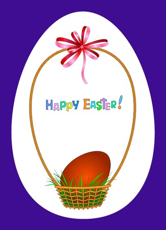 egg shaped: Beautiful wicker basket with green grass and red easter egg on white background in dark-blue framed egg shaped