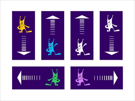 attract attention: Funny rabbits attract attention to rectangle-pointers with arrows  Illustration