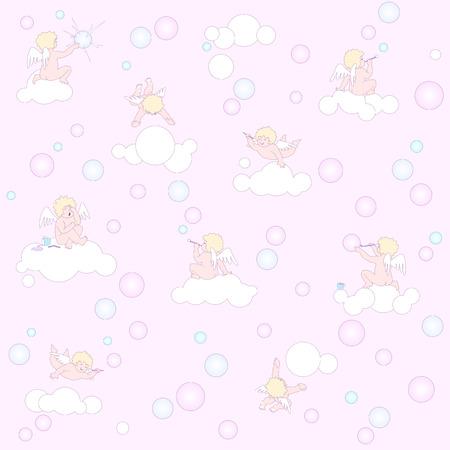 unendlich: Dieses Muster l�sst sich stufenlos in alle Richtungen Lustige kleine Engel in pink Luftraum verl�ngert werden Illustration