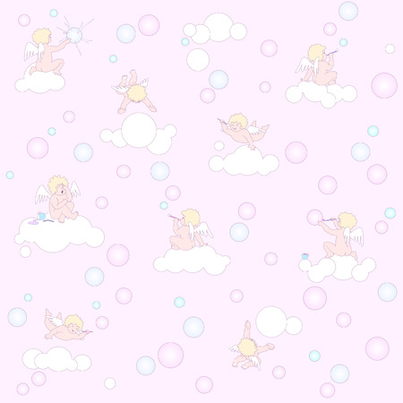 infinitely: This pattern can be extended infinitely in all directions  Funny little angels are in pink air space