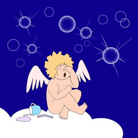 On dark blue background funny little angel sit on cloud and weep over burst of soap-bubbles  Near on cloud are upturned cup with colored fluid and broken roll up paper  Around are many bubbles and bursting bubbles