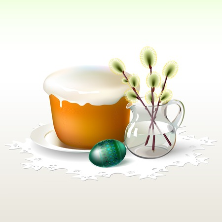 white napkin: Easter egg with beautiful green geometric ornament are near Easter cake and sprigs of willow in glass pitcher  All are on white openwork napkin  Background is soft light shades of  yellow green color  Illustration
