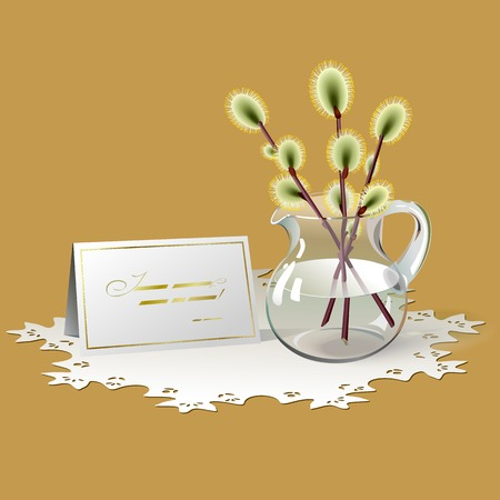white napkin: Sprigs of willow in glass pitcher and congratulation card where you can write  your  text  All are on white openwork napkin  Background is orange color  Illustration