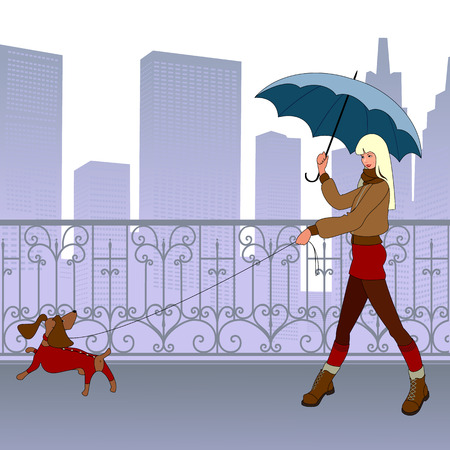 Young modern girl-blonde walks with small dog by bridge. She smiles. Behind them are beautiful forged tracery grating and silhouette of skyscrapers. Weather is cool. Girl dressed in short skirt, jacket and boots. She has dogs lead in one hand and blue um Vector
