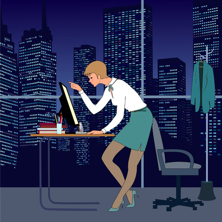 there: Nice young woman work in office at night. There are table, computer, armchair and great window. Very nice  view from window to skyscrapers and night sky.
