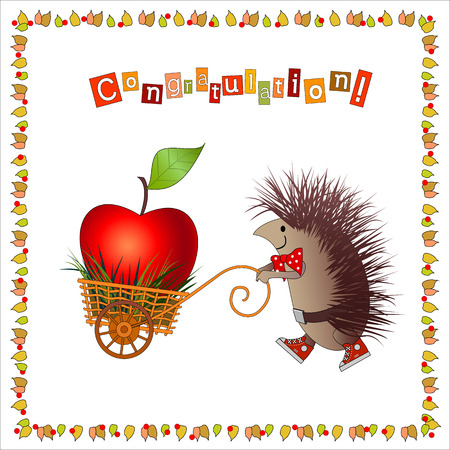 handcart: Cartoon hedgehog carries big apple in nice handcart. Frame consist of foliages and berries. On top of card is congratulation. Letters are in the middle of color squares.