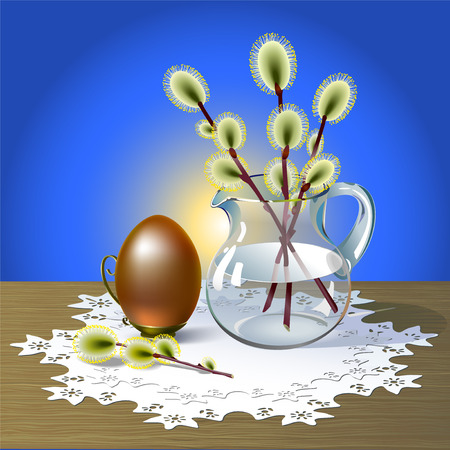 prop: Easter egg in metal vintage prop and sprigs of pussy-willow in glass pitcher stand on wooden table covered white openwork napkin. Background is beautiful glow from yellow to blue color. Illustration