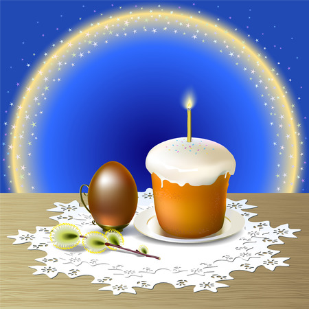 between: Easter egg and Easter cake on white plate are on wooden table covered white openwork napkin. Small light shine on candle standing on Easter cake. Background is beautiful glow by semicircle between yellow and blue color spangled little stars.