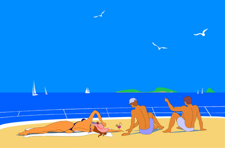 bronzed: Young girl and two young man sunbath on beach or deck of yacht. They enjoy vacation. Blue sky and sea, white yachts and seagulls are around them.