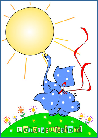 Drawing of cartoon style. Funny little elephant inflates balloon in  form of sun.  Elephant color is blue with white polka dots. He dance on green meadow with flowers. Greeting card for different ages and holidays.